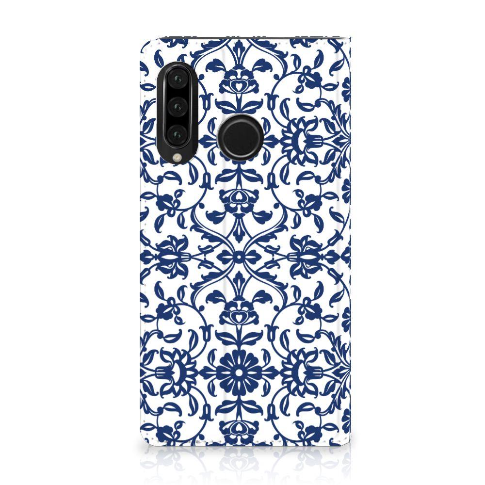 Huawei P30 Lite Standcase Hoesje Flower Blue