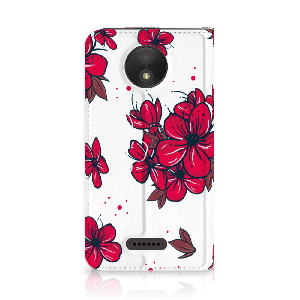 Motorola Moto C Plus Standcase Hoesje Design Blossom Red