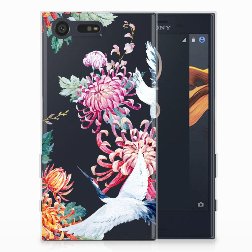 Sony Xperia X Compact Uniek TPU Hoesje Bird Flowers