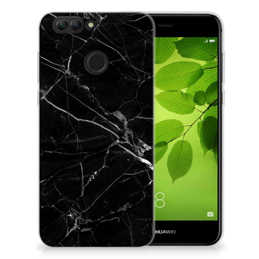 Huawei Nova 2 TPU Siliconen Hoesje Marmer Zwart