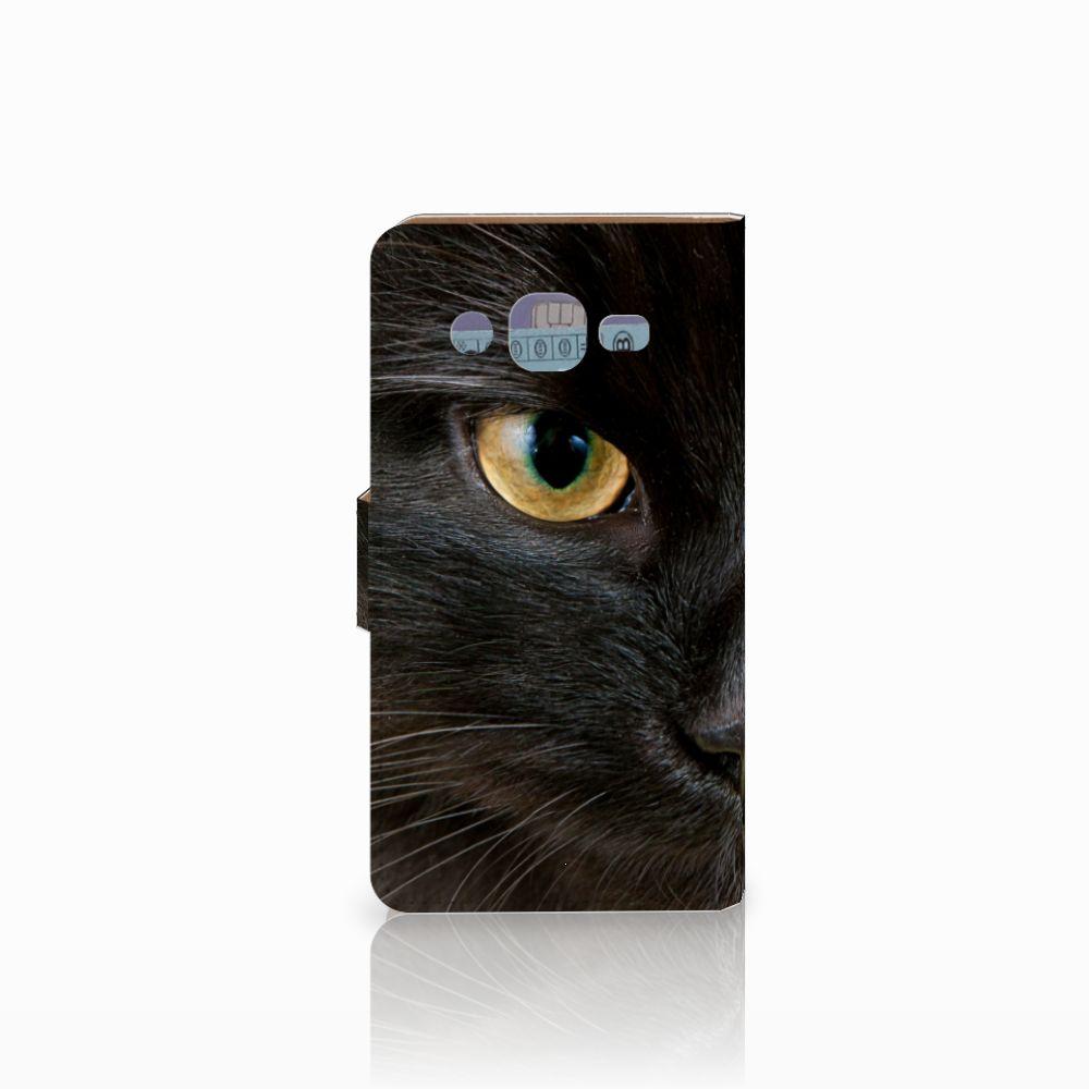 Samsung Galaxy J2 (2015) Telefoonhoesje met Pasjes Zwarte Kat