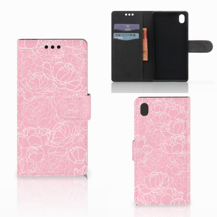 Sony Xperia M4 Aqua Wallet Case White Flowers