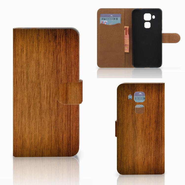 Huawei Nova Plus Book Style Case Donker Hout