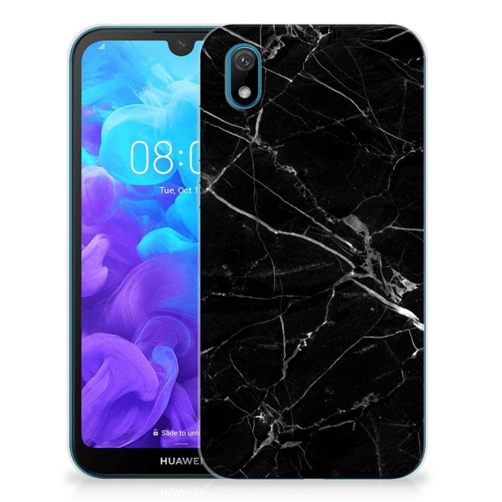 Huawei Y5 (2019) TPU Siliconen Hoesje Marmer Zwart