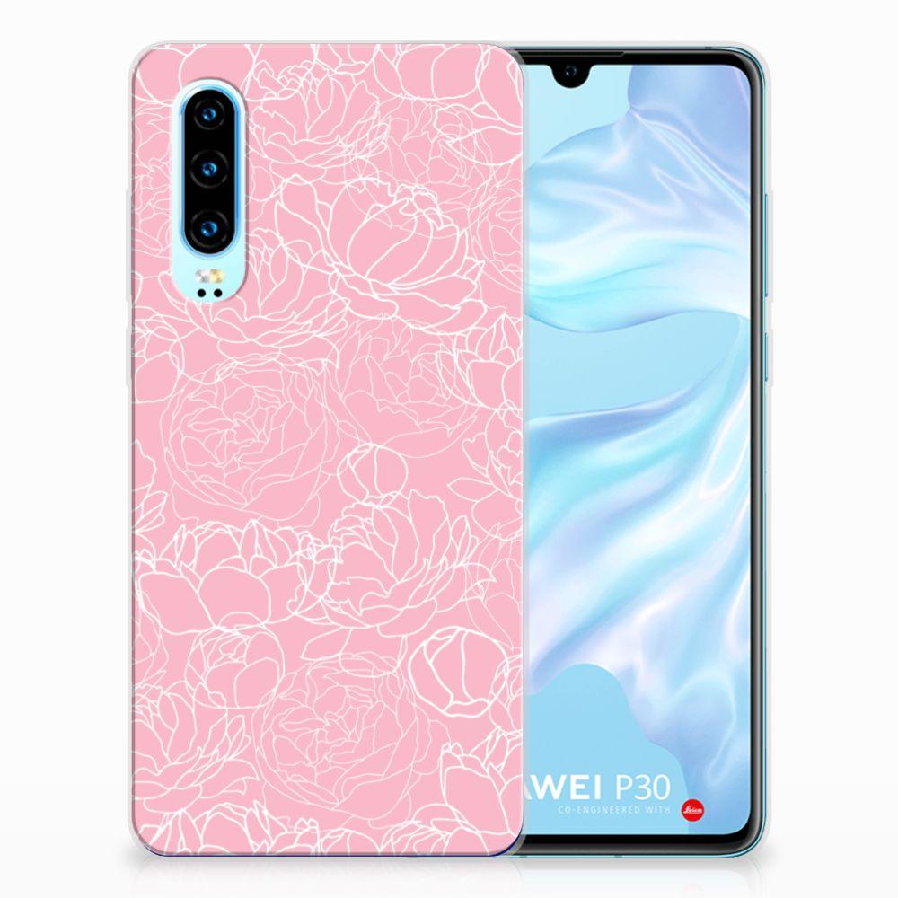 Huawei P30 Siliconen Hoesje White Flowers