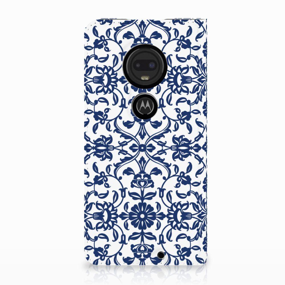 Motorola Moto G7 | G7 Plus Uniek Standcase Hoesje Flower Blue
