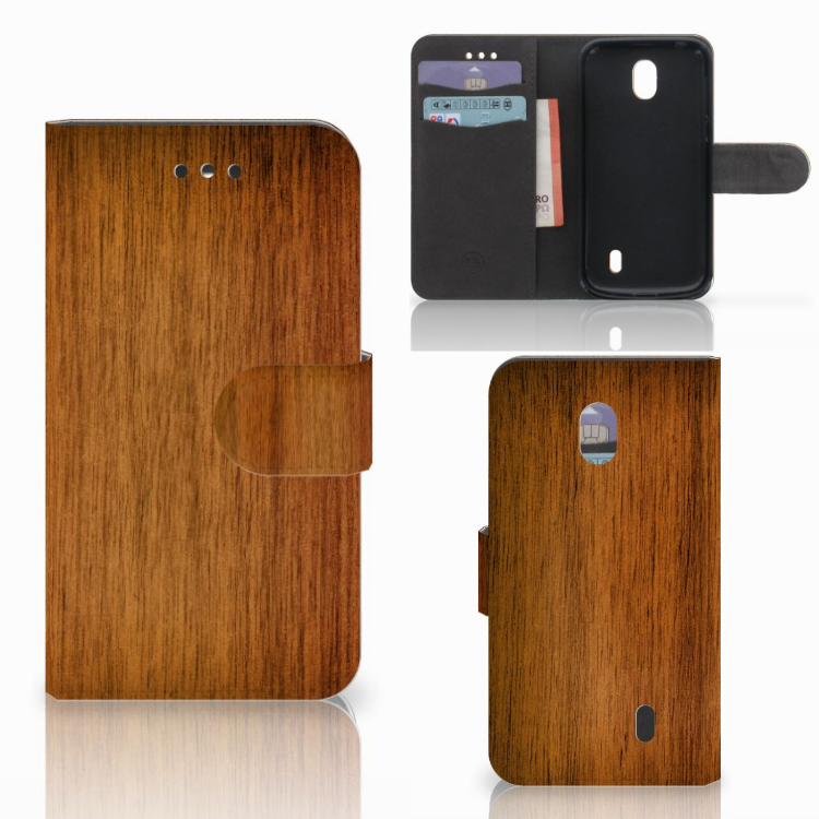 Nokia 1 Book Style Case Donker Hout