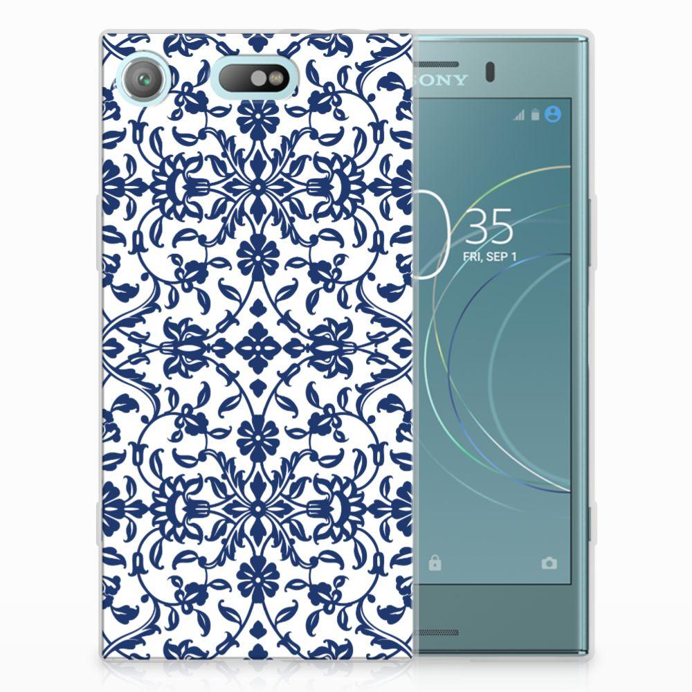 Sony Xperia XZ1 Compact Uniek TPU Hoesje Flower Blue