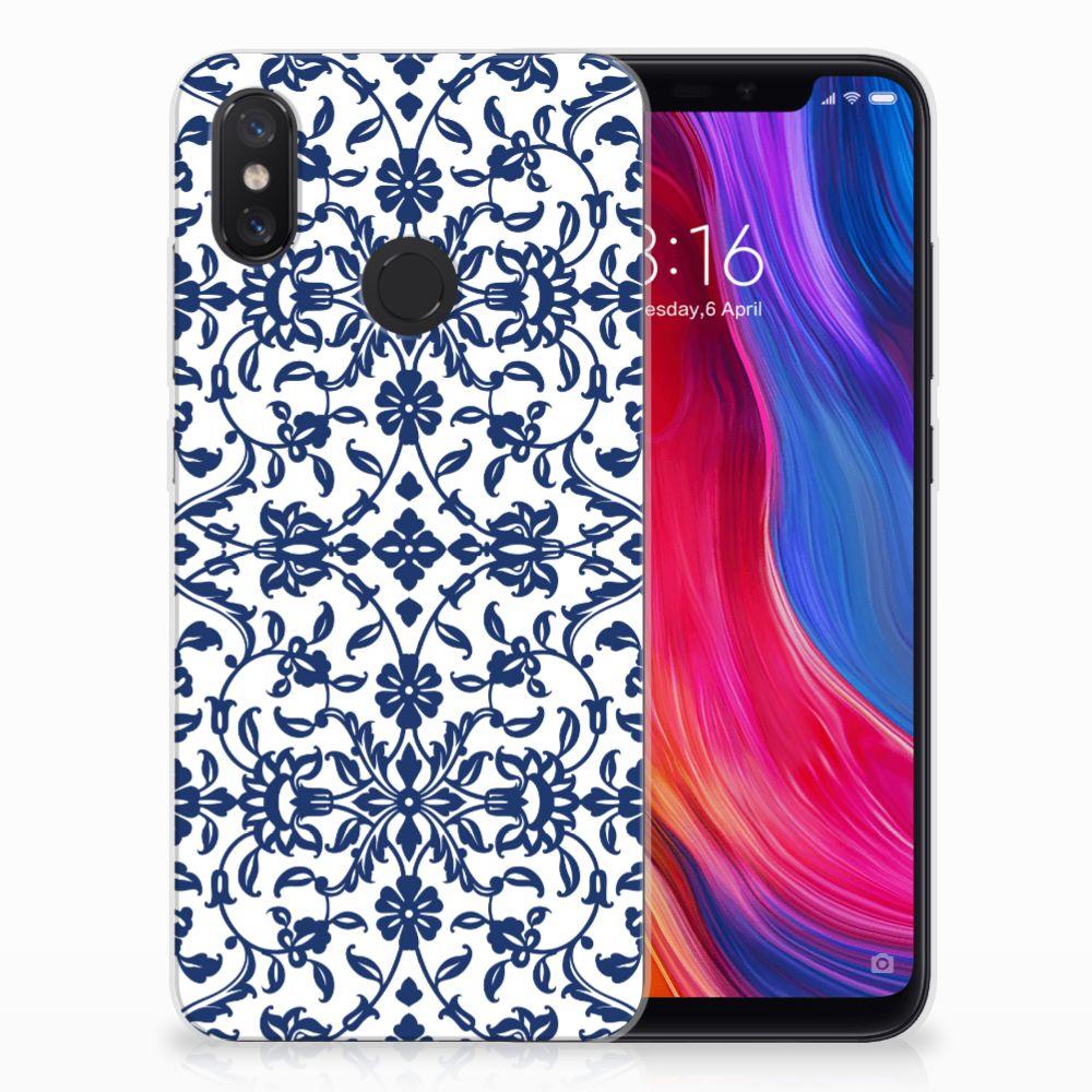 Xiaomi Mi 8 TPU Hoesje Flower Blue