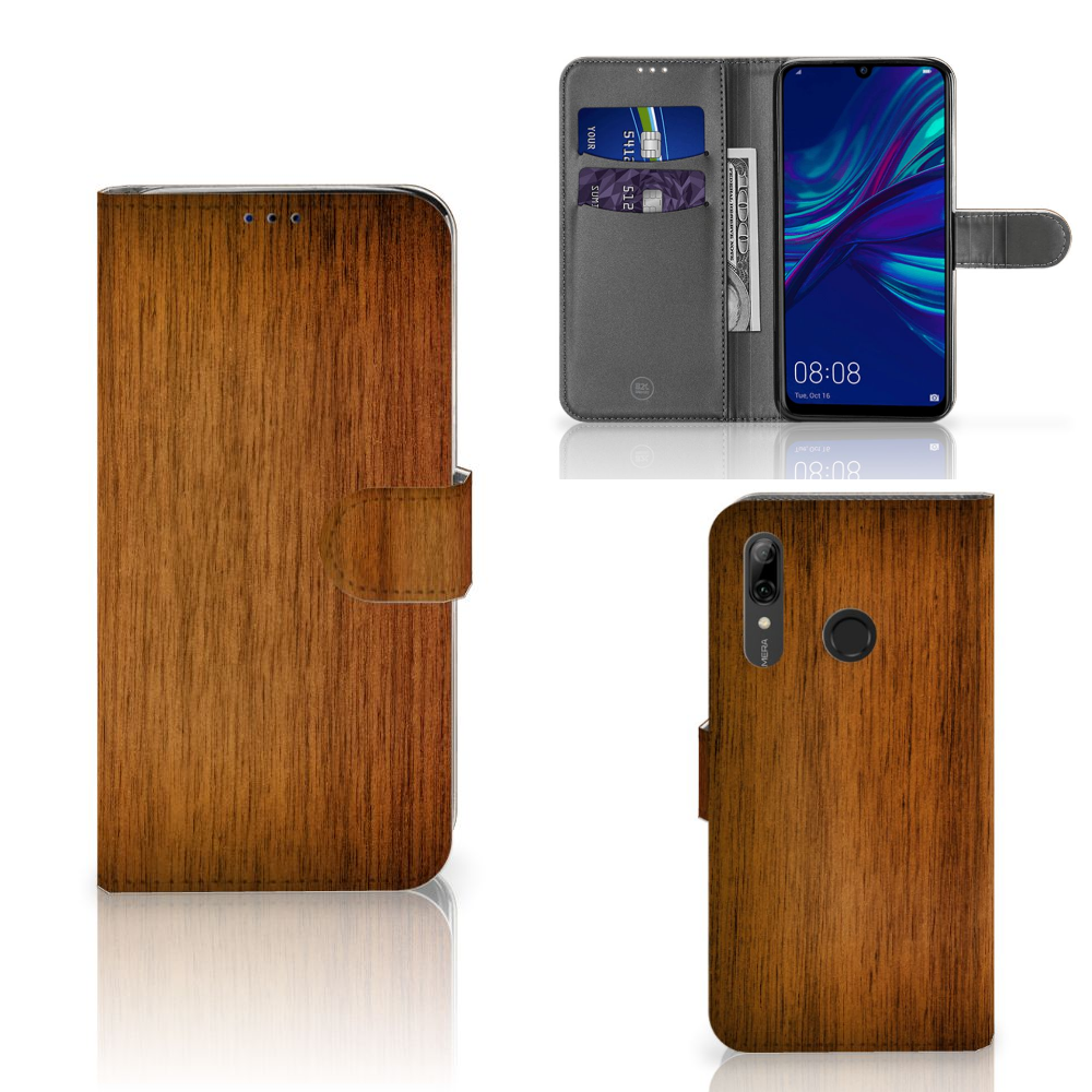Huawei P Smart Plus (2019) Book Style Case Donker Hout
