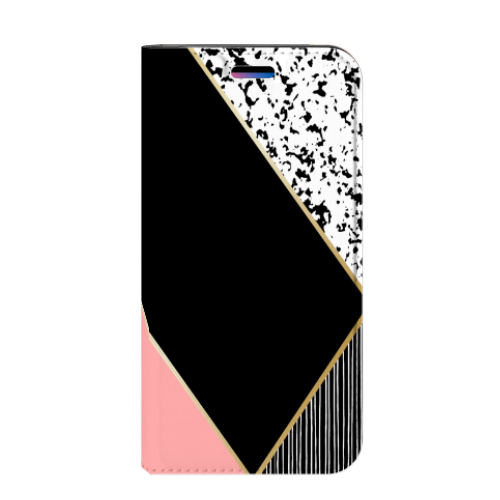 Apple iPhone X | Xs Uniek Standcase Hoesje Black Pink Shapes
