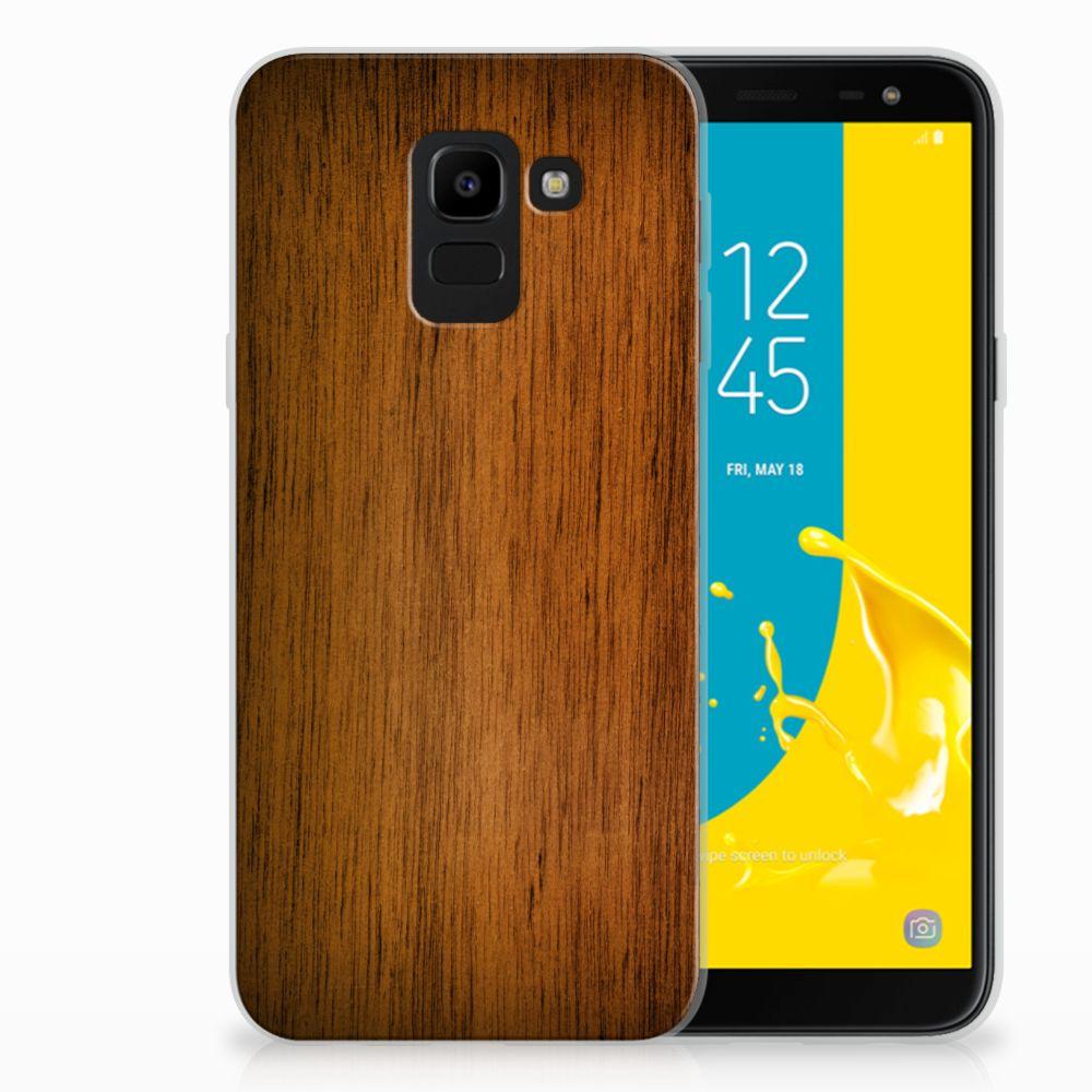 Samsung Galaxy J6 2018 Bumper Hoesje Donker Hout
