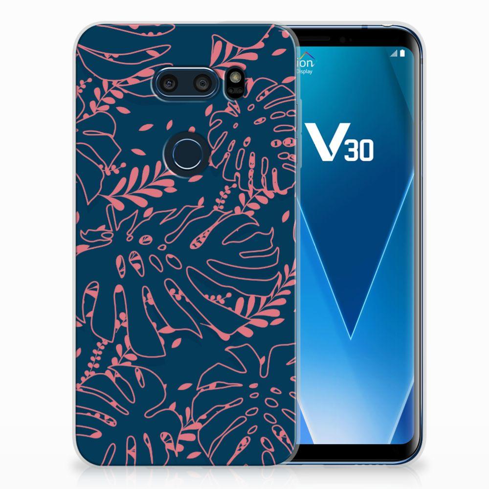 LG V30 TPU Hoesje Design Palm Leaves
