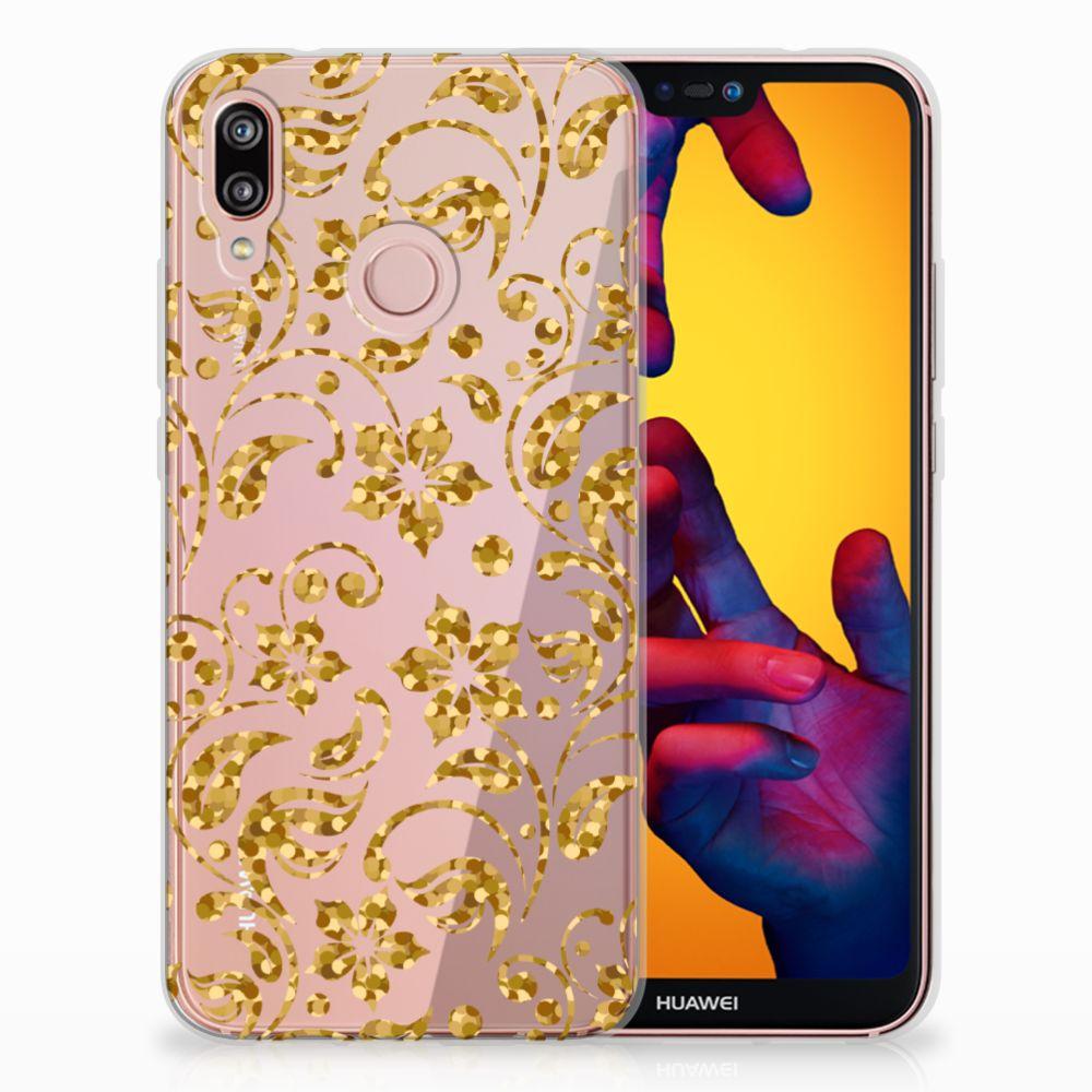 Huawei P20 Lite TPU Hoesje Design Gouden Bloemen