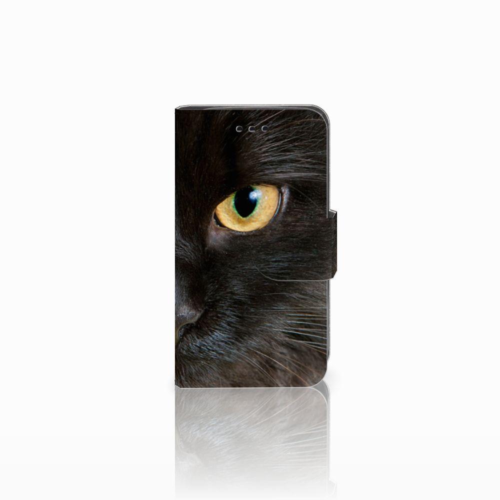 Samsung Galaxy Trend 2 Telefoonhoesje met Pasjes Zwarte Kat
