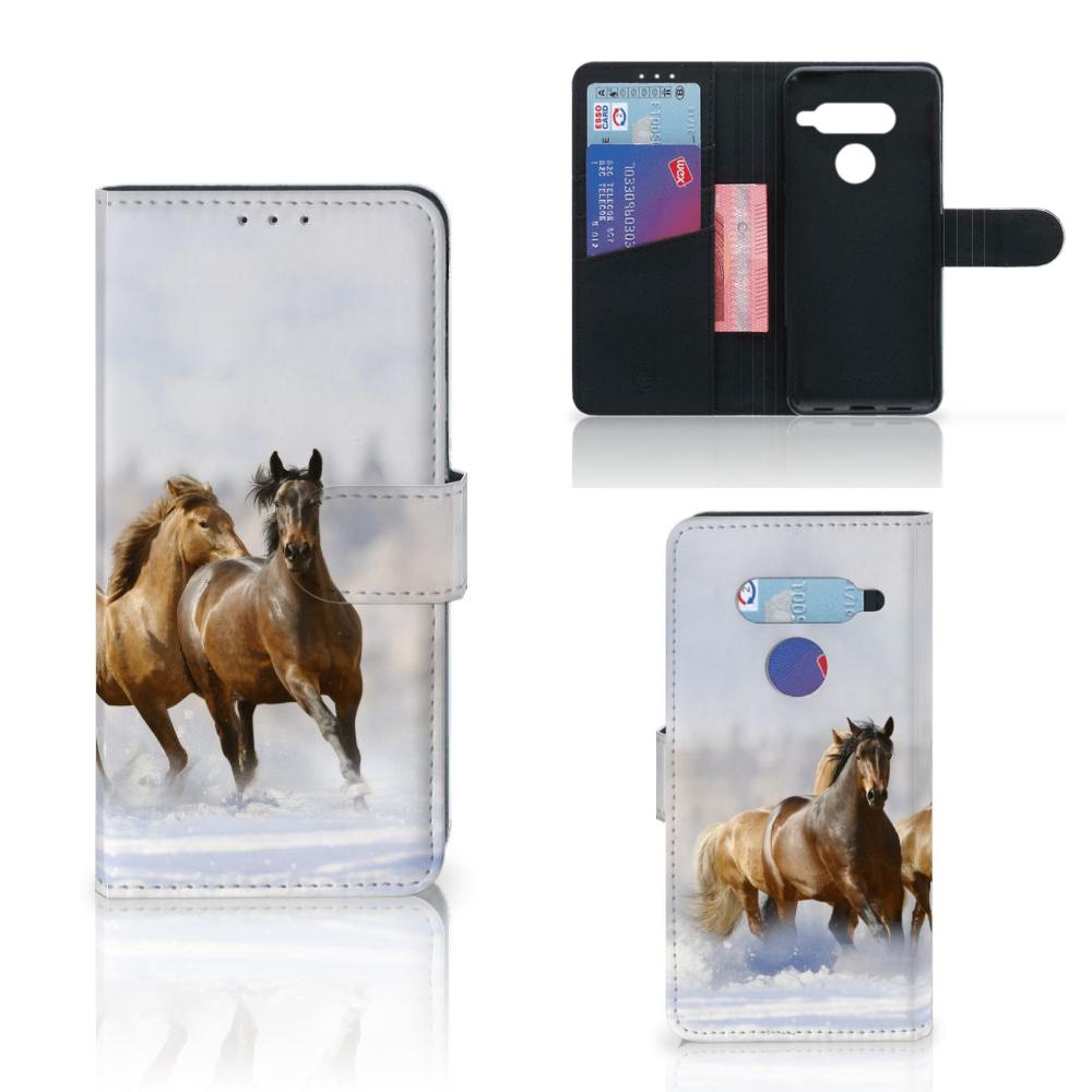 LG V40 Thinq Telefoonhoesje met Pasjes Paarden
