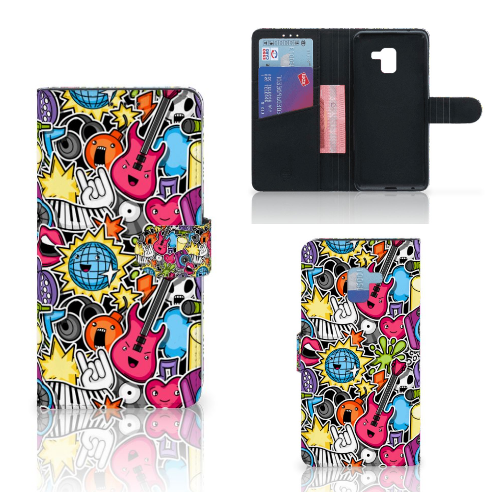 Samsung Galaxy A8 Plus (2018) Wallet Case met Pasjes Punk Rock