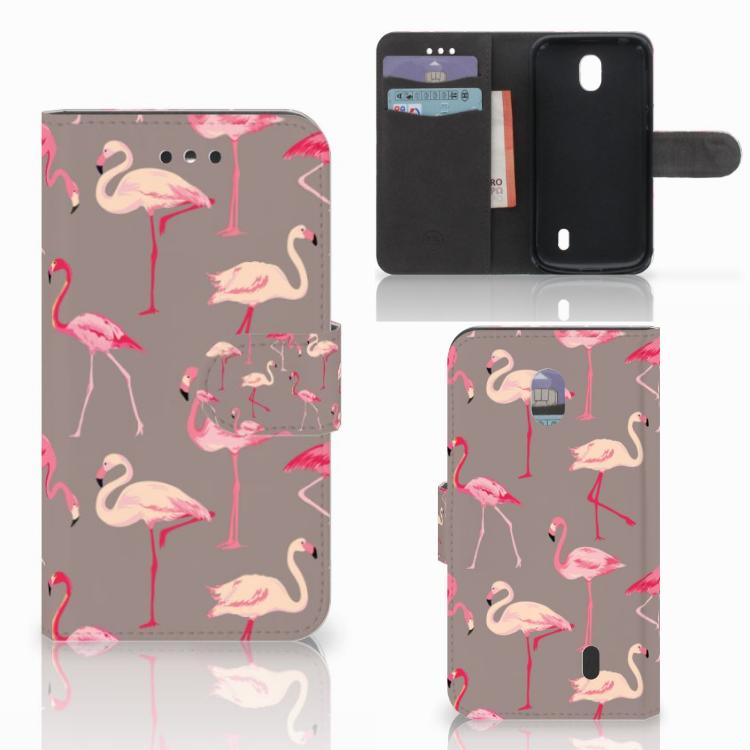 Nokia 1 Telefoonhoesje met Pasjes Flamingo