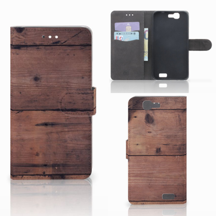 Huawei Ascend G7 Book Style Case Old Wood