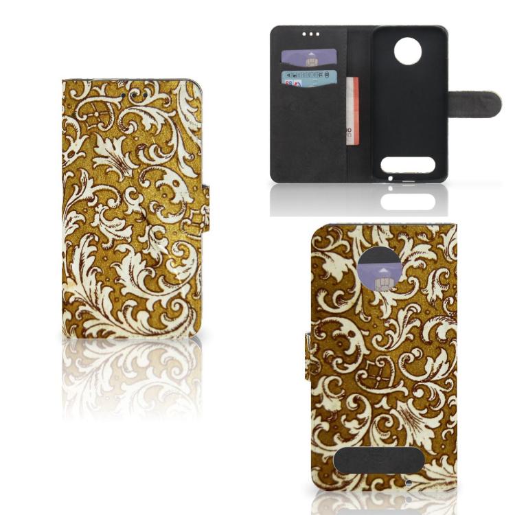 Wallet Case Motorola Moto Z2 Force Barok Goud