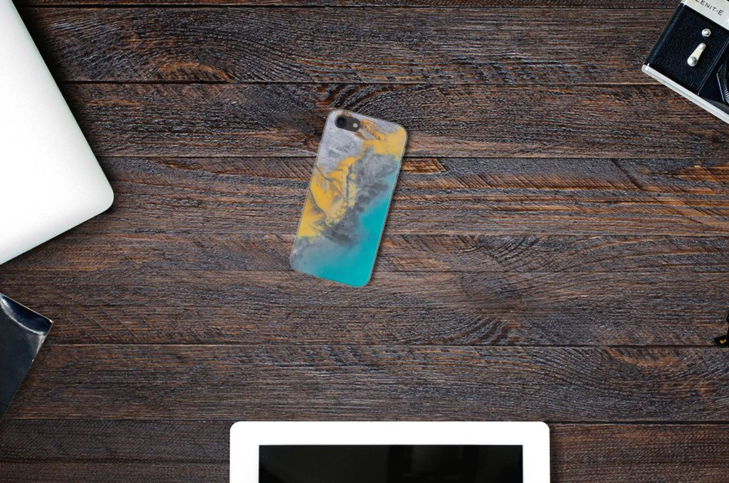 iPhone SE (2020)   7/8 TPU Siliconen Hoesje Marble Blue Gold
