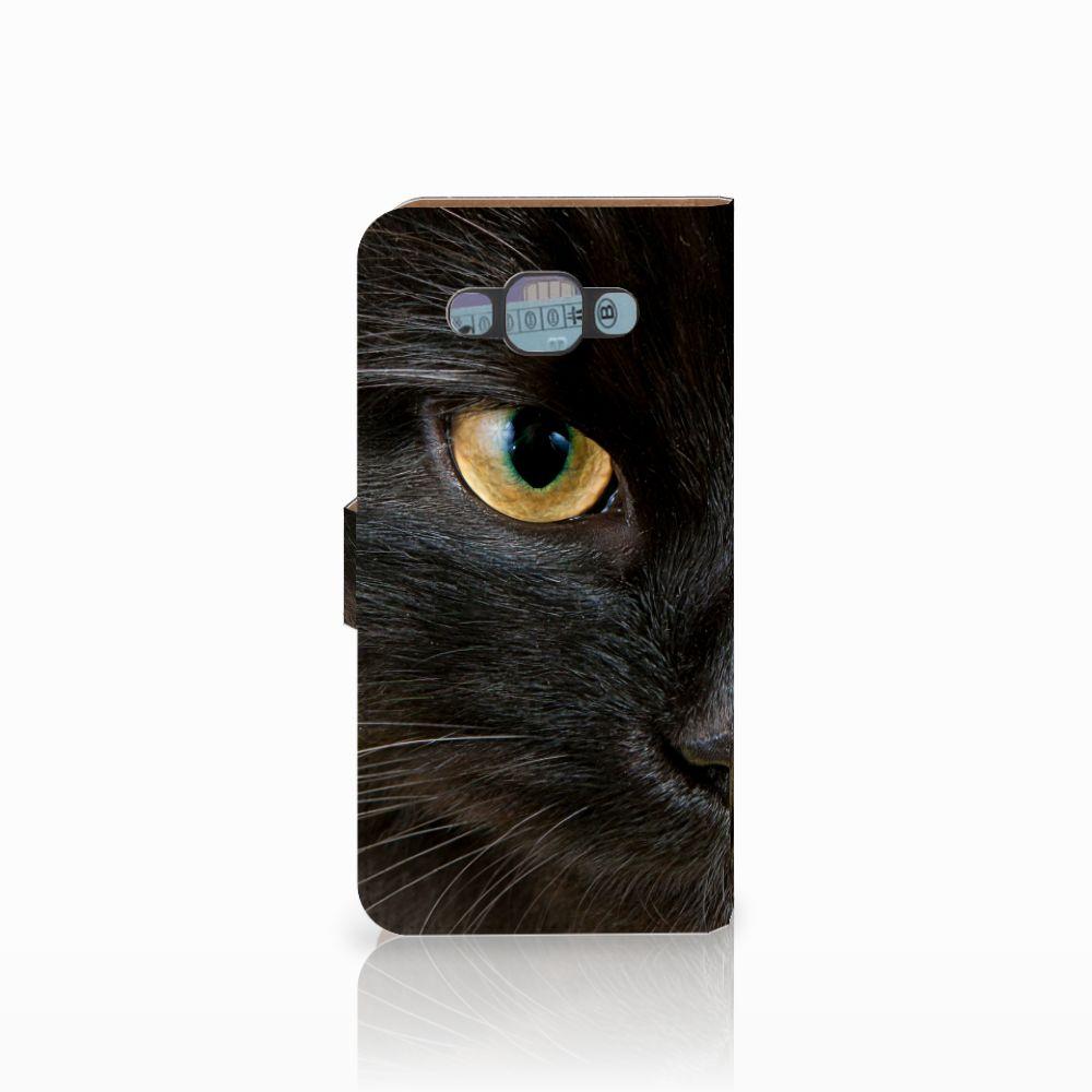 Samsung Galaxy E7 Telefoonhoesje met Pasjes Zwarte Kat