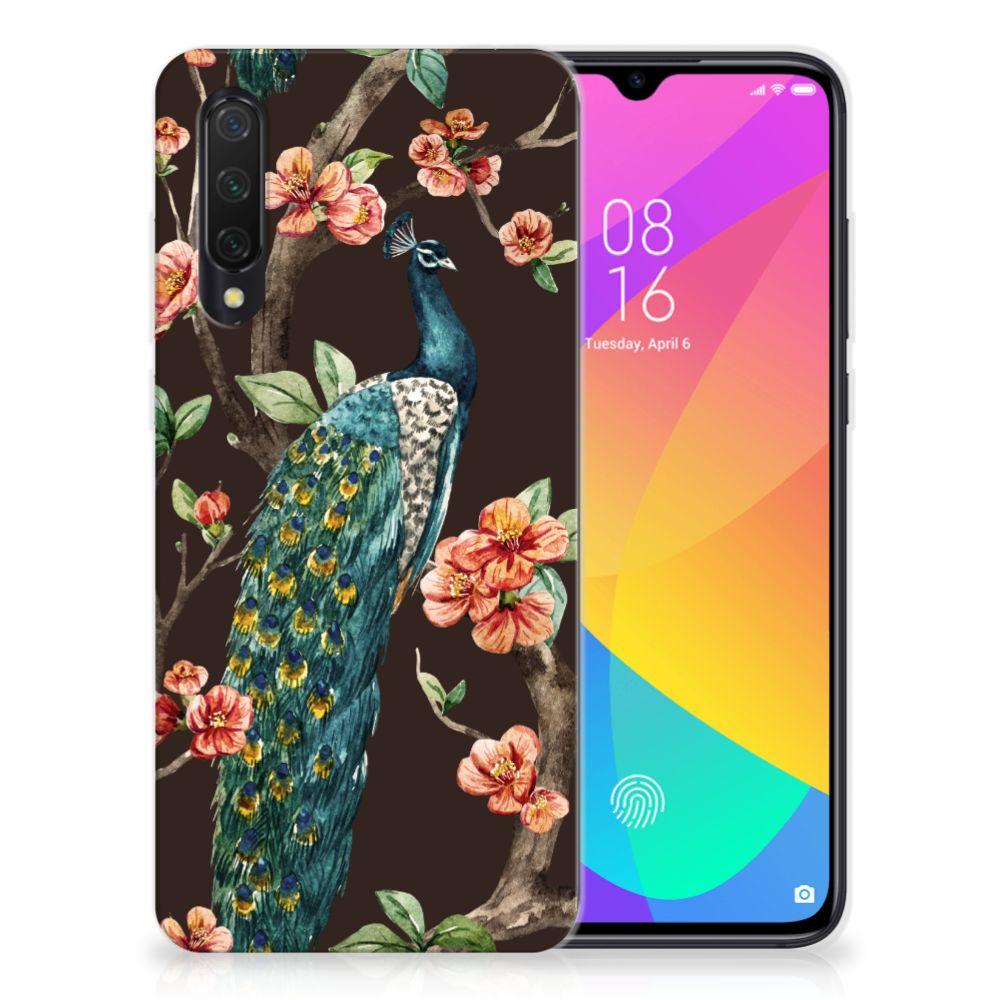 Xiaomi Mi 9 Lite TPU Hoesje Pauw met Bloemen