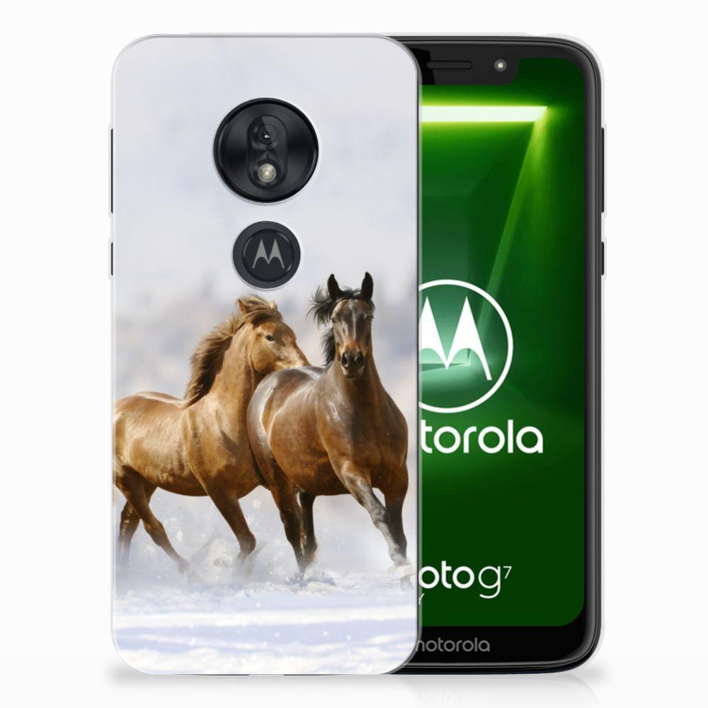 Motorola Moto G7 Play Uniek TPU Hoesje Paarden