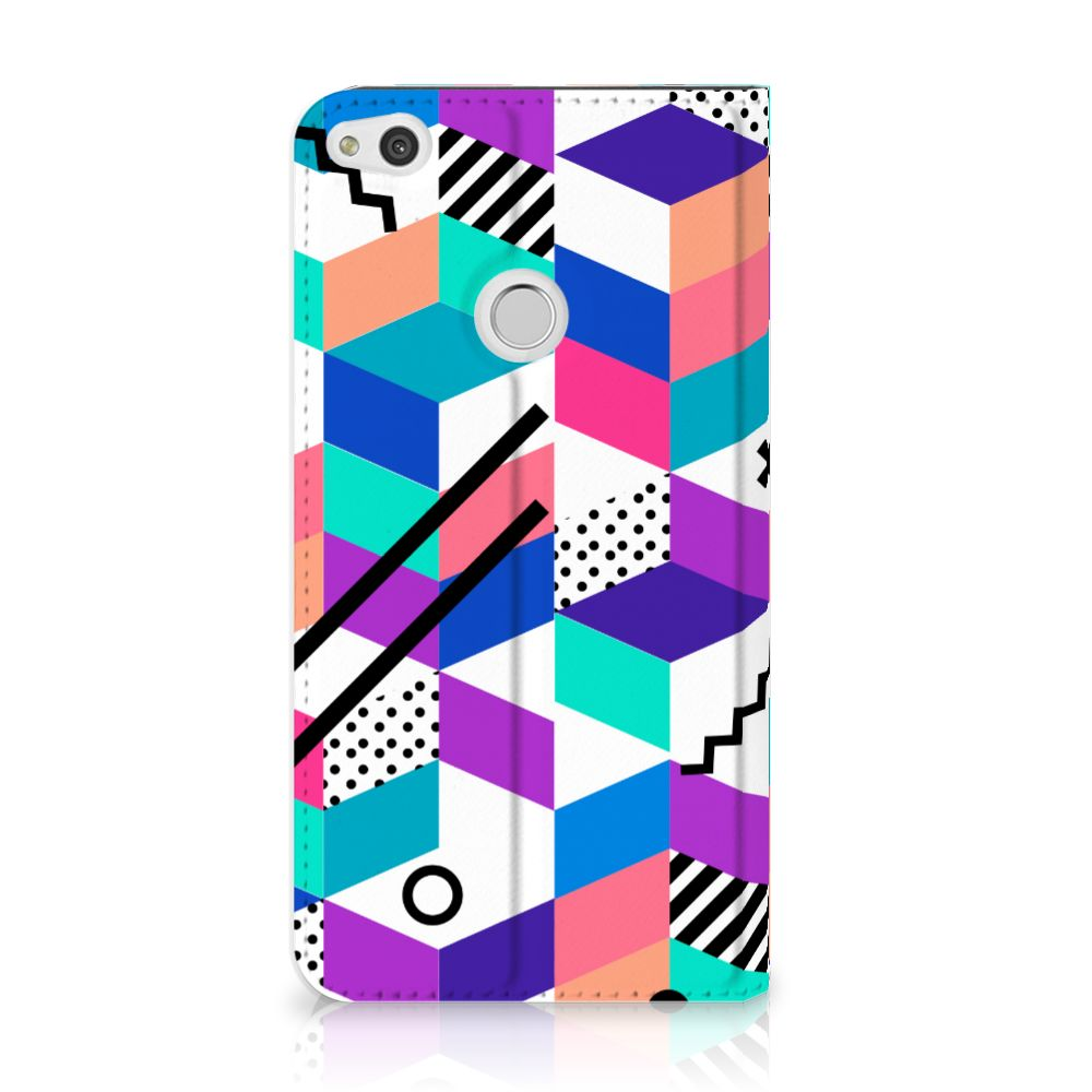 Huawei P8 Lite 2017 Standcase Hoesje Design Blocks Colorful