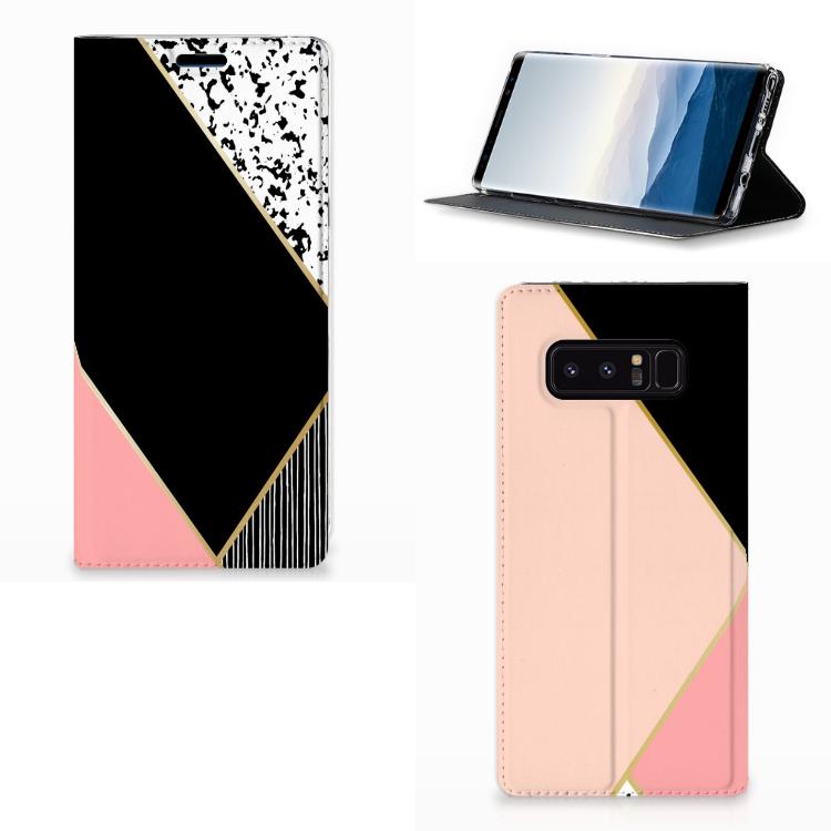 Samsung Galaxy Note 8 Stand Case Zwart Roze Vormen