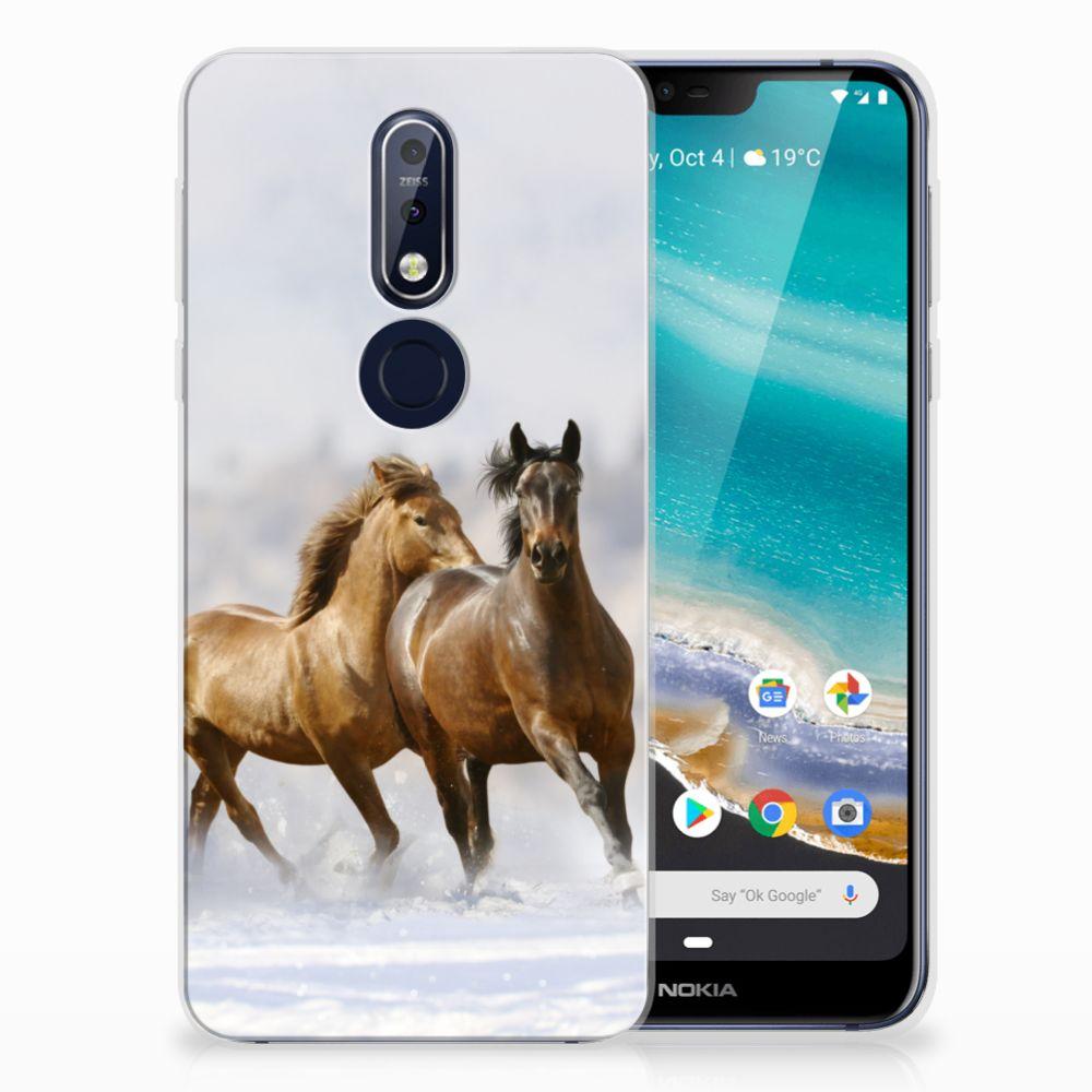Nokia 7.1 TPU Hoesje Paarden