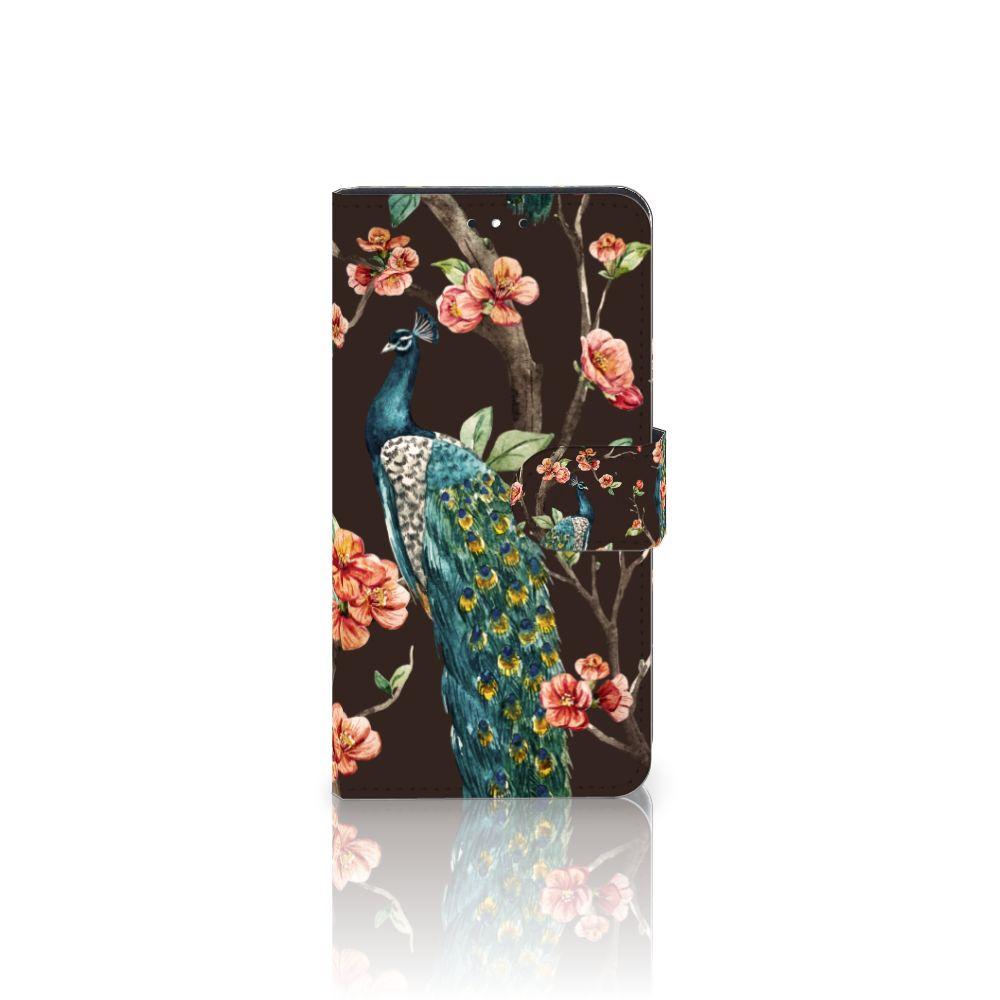 Motorola Moto G5S Plus Boekhoesje Design Pauw met Bloemen