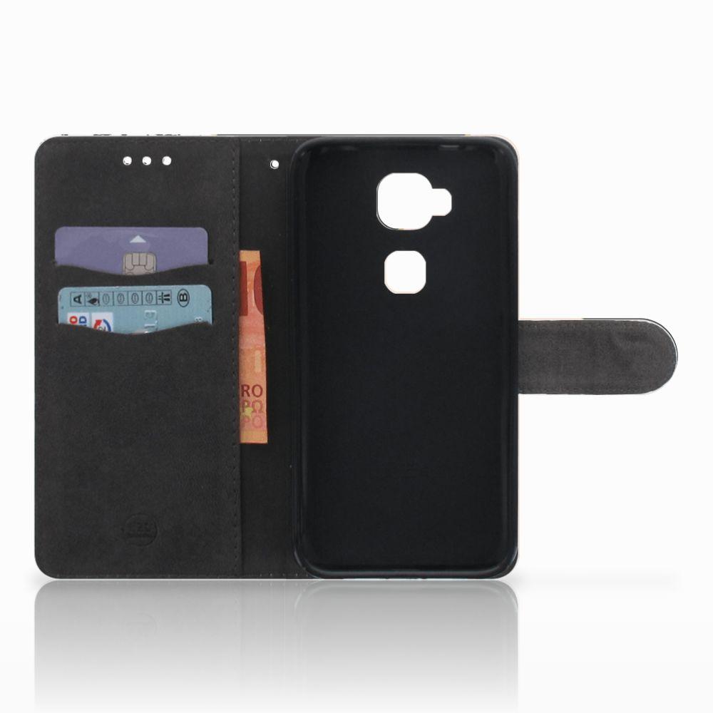 Huawei G8 Bookcase Zwart Roze Vormen