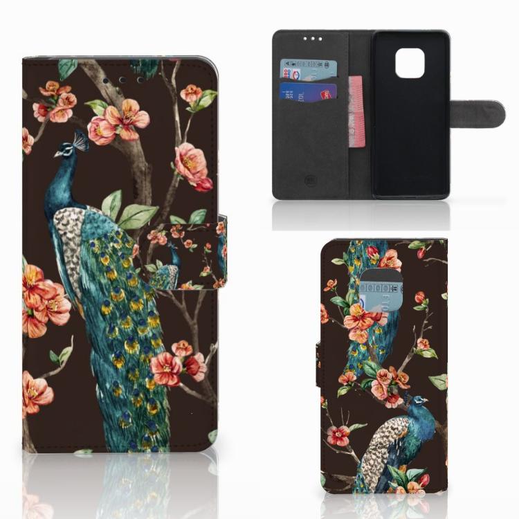 Huawei Mate 20 Pro Telefoonhoesje met Pasjes Pauw met Bloemen