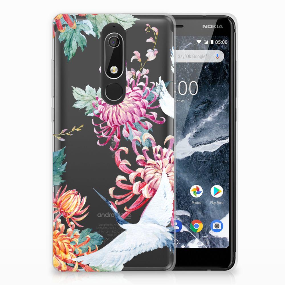 Nokia 5.1 (2018) Uniek TPU Hoesje Bird Flowers
