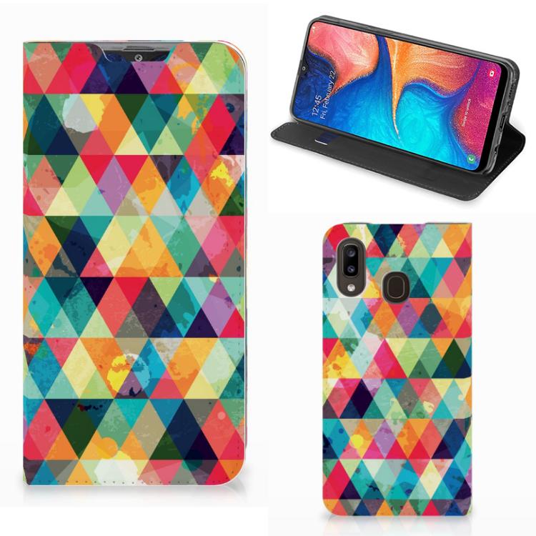 Samsung Galaxy A30 Hoesje met Magneet Geruit