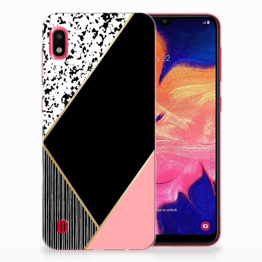 Samsung Galaxy A10 TPU Hoesje Zwart Roze Vormen