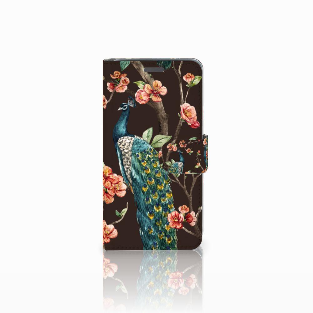 Wiko Rainbow Jam Boekhoesje Design Pauw met Bloemen