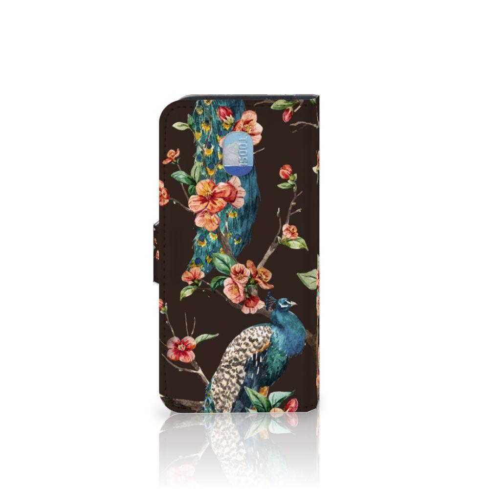 Samsung Galaxy J3 (2018) Telefoonhoesje met Pasjes Pauw met Bloemen