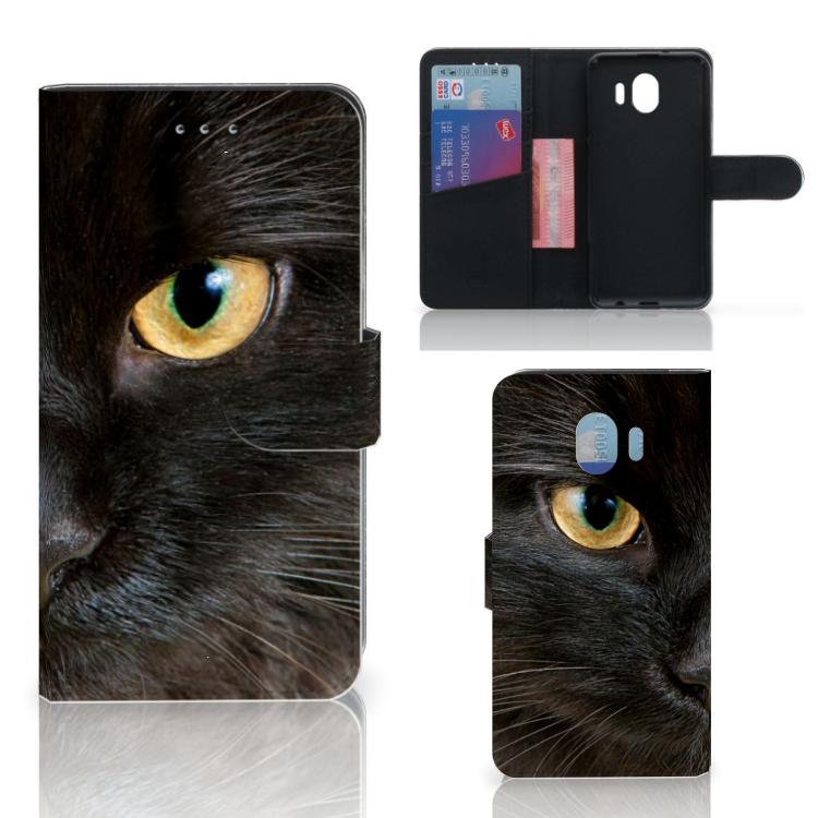 Samsung Galaxy J4 2018 Telefoonhoesje met Pasjes Zwarte Kat