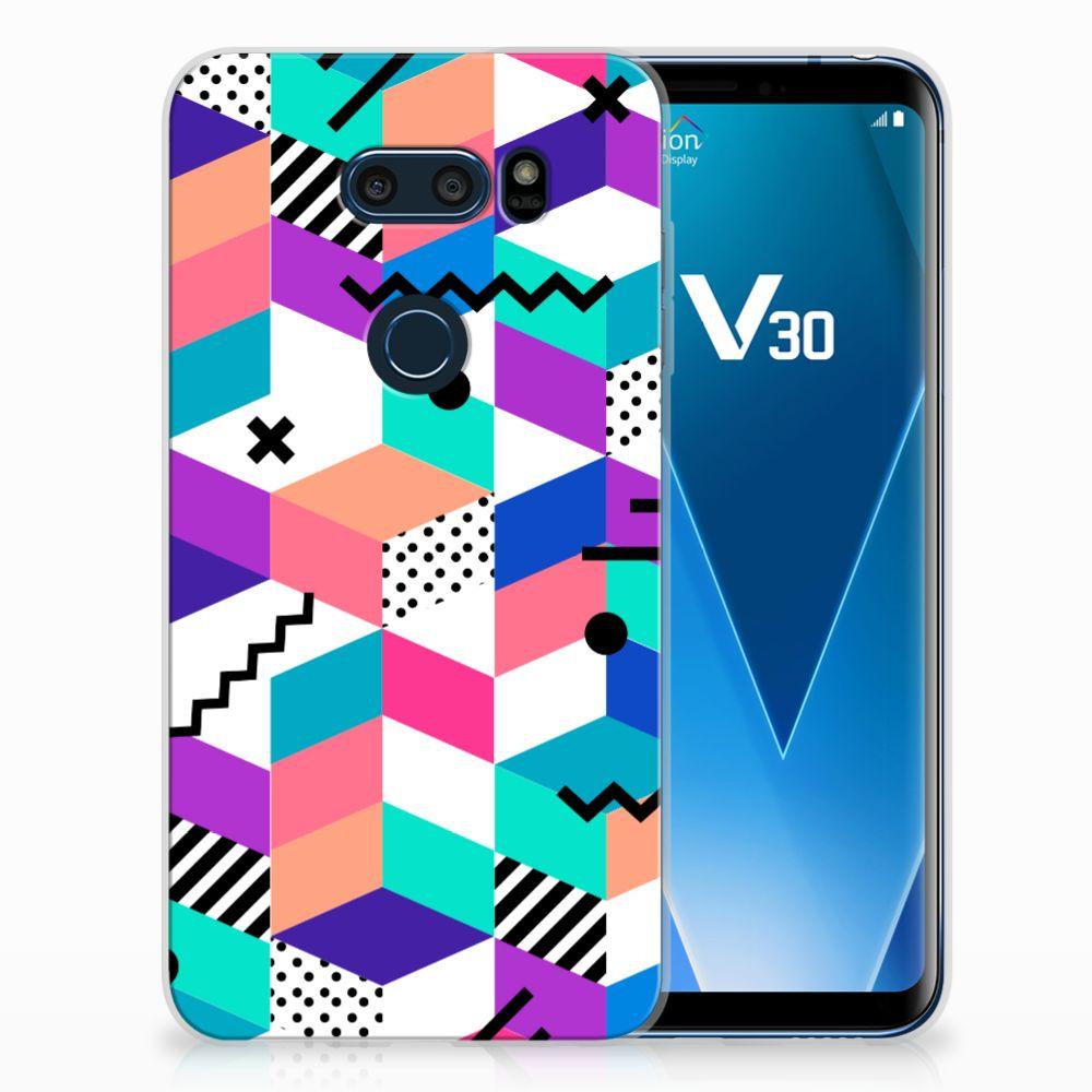 LG V30 TPU Hoesje Design Blocks Colorful
