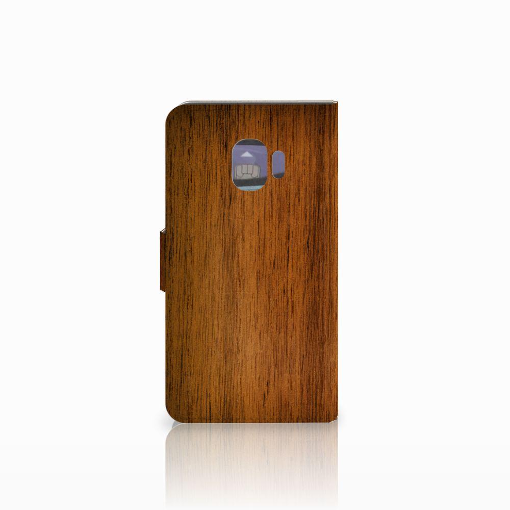 Samsung Galaxy J2 Pro 2018 Book Style Case Donker Hout