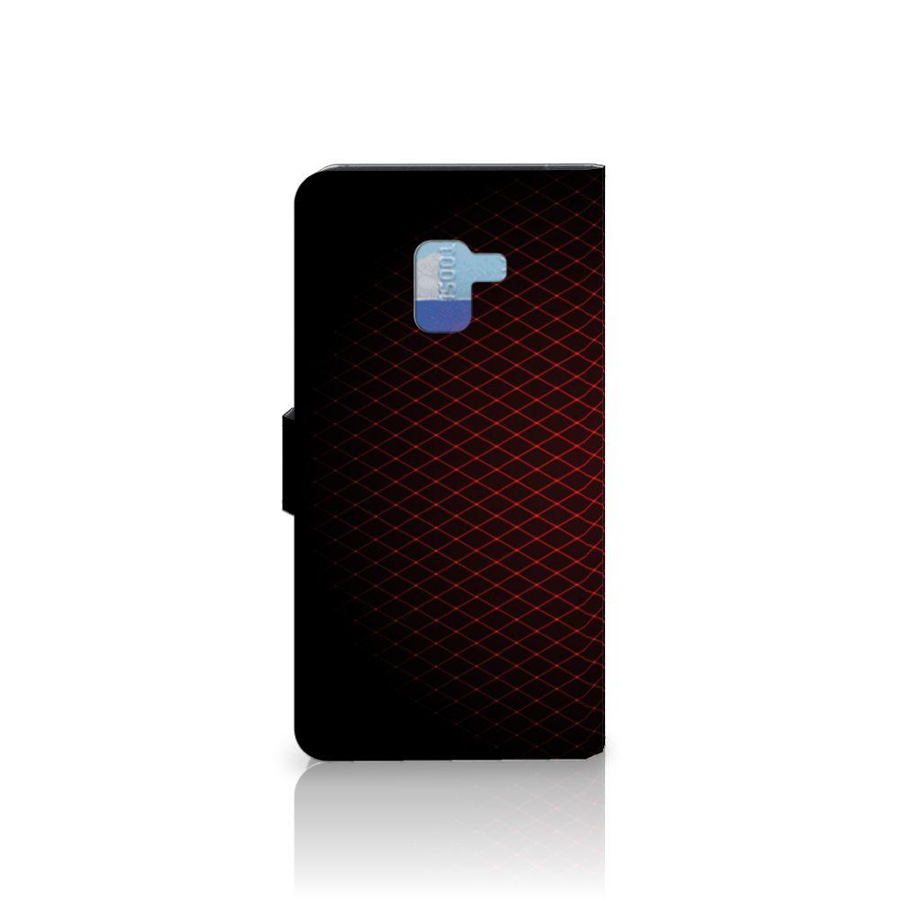 Samsung Galaxy A8 Plus (2018) Telefoon Hoesje Geruit Rood
