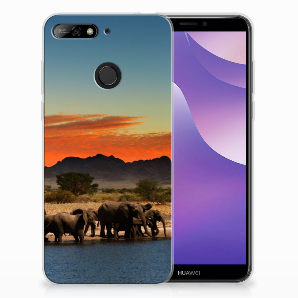 Huawei Y6 (2018) TPU Hoesje Design Olifanten