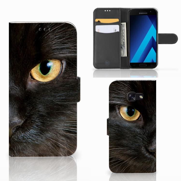 Samsung Galaxy A5 2017 Telefoonhoesje met Pasjes Zwarte Kat