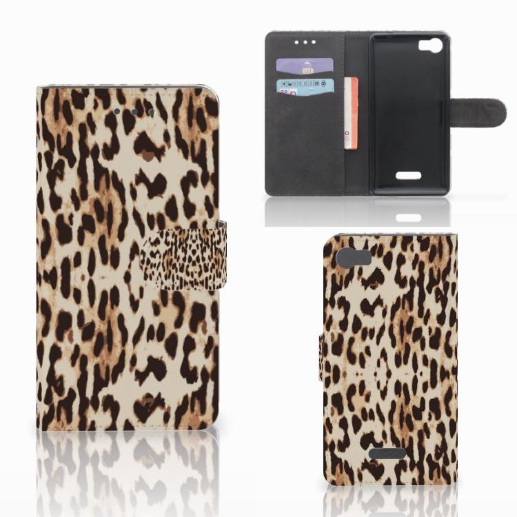 Wiko Fever (4G) Telefoonhoesje met Pasjes Leopard