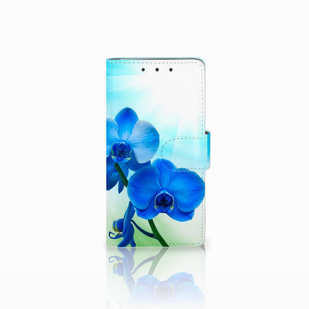 HTC One M7 Boekhoesje Design Orchidee Blauw
