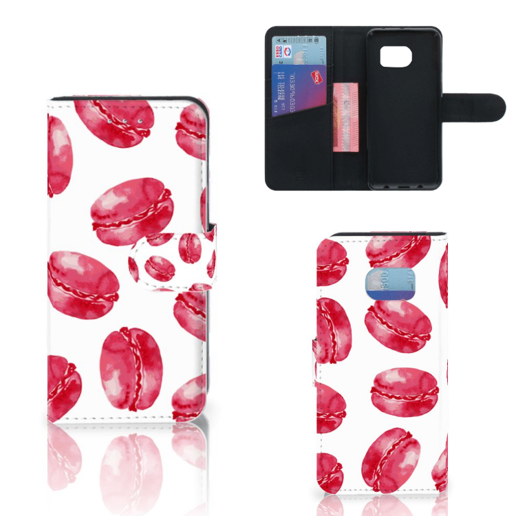 Samsung Galaxy S6 Edge Book Cover Pink Macarons