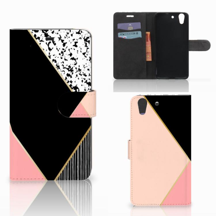 Huawei Y6 II | Honor 5A Bookcase Zwart Roze Vormen