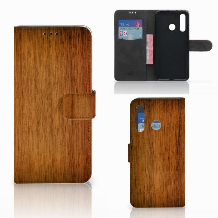 Huawei Nova 4 Book Style Case Donker Hout